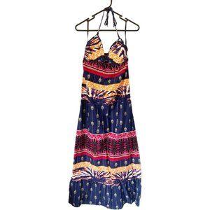 BILLABONG 10 womens multicoloured beach summer HALTER MAXI DRESS ♡